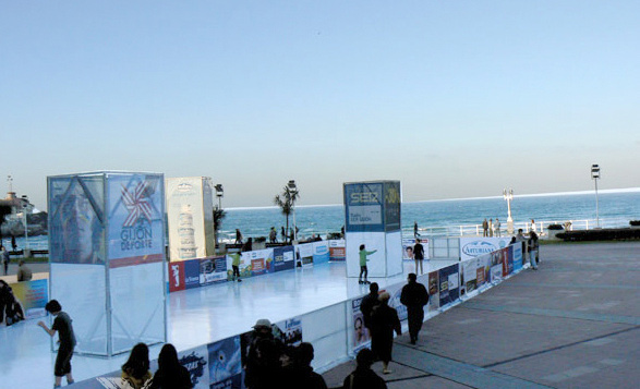 Iceless skating rink by the beach